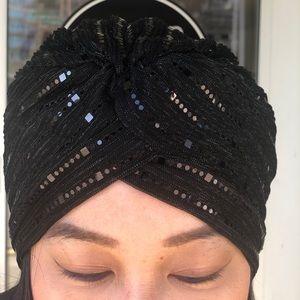 Turban hat cap hair pcs black stretchy